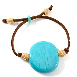 Jewelry - Natural stone, suede cord adjustable bracelet. (L)